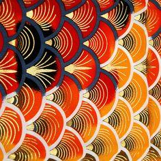 Koi quilt fabric koi fish wave ocean lotus lilly pad for Koi fish print fabric