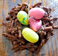 These HERSHEY'S Chocolate Easter Nests filled with HERSHEY's candy is a super easy and delicious Easter treat to make.