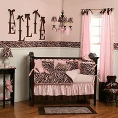 Pink and Brown baby room