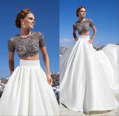 Two Piece Lace Skirt Satin Train Evening Dress Party Prom Formal Celebrity Gown