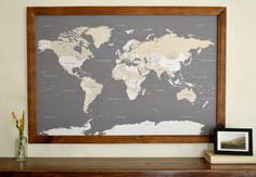 World travel map with push pins. I want!  http://www.etsy.com/listing/155313463/world-push-pin-travel-map-in-wood-frame?ref=sr_gallery_6&ga_search_query=map&ga_view_type=gallery&ga_ship_to=US&ga_search_type=all