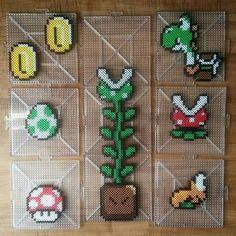 Super Mario stuff perler beads by Perler Beads, Hama Beads Mario, Hamma Beads 3d, Pearler Bead Patterns, Perler Patterns, Super Mario, Arte Nerd, 8bit Art, Hama Beads Design