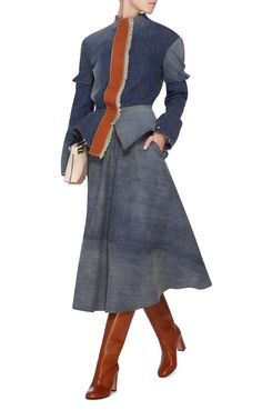 Leather-Trimmed Denim Peplum Jacket by LOEWE Now Available on Moda Operandi