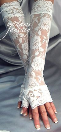 Sexy Extra Long White Lace Fingerless Gloves With Cuffs - Madame Fantasy