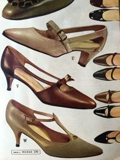 1964 Strappy Dancing Shoes. 1960s heels pumps shoes.