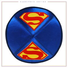 Superman kippah / yarmulkah. Hand made traditional jewish head covering.
