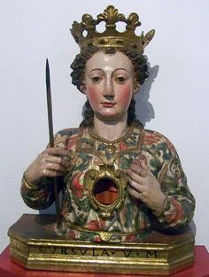 Bust-reliquary of Saint Ursula, c.1700; she is depicted with her symbolic attributes, a crown and arrow.