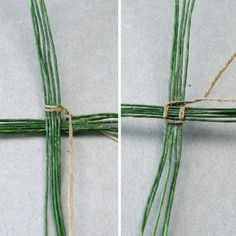 Embroidery floss wraps around both sides of fine wire to create a mini effect of wicker pairing.