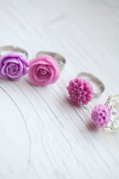 Lilac Violet Purple Flower Ring  Adjustable  by WhiteLilyDesign, $9.00