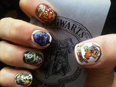 Welcome to another edition of nail art inspired by fiction. This week is Harry Potter week! And there's heaps of nail art dedicated to Harry Potter of course, however I've picked o. Harry Potter Nail Art, Harry Potter Love, So Nails, Cute Nails, Pretty Nails, Hair And Nails, Fancy Nails, Crazy Nails, Uñas Diy