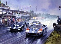 Motor Sport Art by Michael Turner and Graham Turner, Aviation Art by Michael Turner, Medieval and Historic Art by Graham Turner Le Mans, Sports Car Racing, Sport Cars, Race Cars, Custom Muscle Cars, Ford Gt40, Vintage Race Car, Car Drawings, Automotive Art