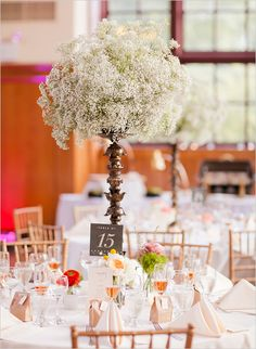 Love the baby breath. Never thought to use it as the the centerpiece but it works.