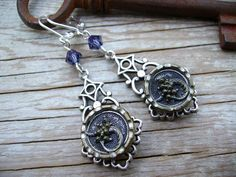 victorian antique button earrings