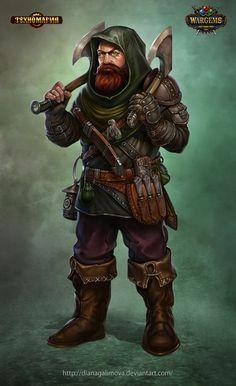 dwarf, dual axe, rogue, thief, assassin, sellsword, great outfit, long beard, scar, DnD, RPG, fantasy character, concept art, D&D ArtStation - The Dwarf Thief, Diana Galimova