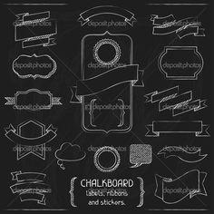 Adhesivos, cintas y etiquetas de pizarra — Stock Illustration #25393347