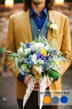 Mustard and cobalt blue - 18 Fall Wedding Color Palettes   Autumn wedding colour combinations   fabmood.com