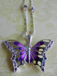Purple Swarovski Butterfly Sterling Silver by CloudNineDesignz, $50.00