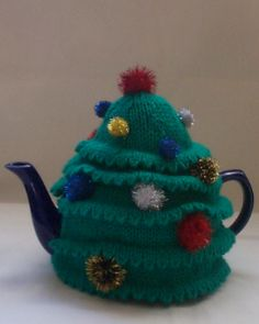 Green and Glitter Christmas Tree Tea cosies for sale from tea cosy folk