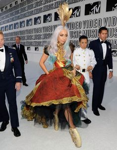 Lady Gaga's Wild Style  Wearing Alexander McQueen at the VMA's, Los Angeles, 2010.