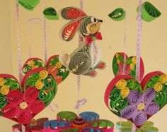 Baby Mobile - Baby Crib Mobile - Quilling Nursery Crib Mobile - Animal Mobile - Rabbit Hearts and Flowers 8H