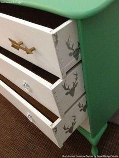 Colorful Dresser Drawers Makeover using Deer Head Furniture Stencils and Pattern - Royal Design Studio