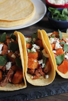 Chipotle Pork Tenderloin and Butternut Squash Tacos. Spicy and satisfying! #FallFest #wintersquash #tacos