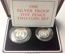 RITTER Grossbritannien, 2x 5 Pence 1990, Alter Pence, Neuer Pence, Schottland,PP #coins