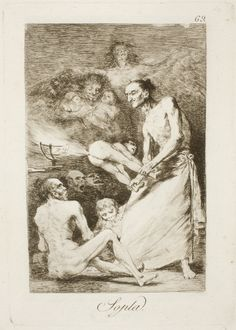 "Francisco de Goya: ""Sopla"". Serie ""Los caprichos"" [69]. Etching, aquatint, drypoint and burin on paper, 210 x 148 mm, 1797-99. Museo Nacional del Prado, Madrid, Spain"
