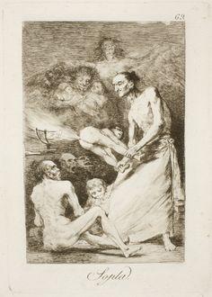 "Francisco de Goya: ""Sopla"". Serie ""Los caprichos"" [69]. Etching, aquatint, drypoint and burin on paper, 210 x 148 mm, 1797-99. Museo Nacional del Prado, Madrid, Spain"