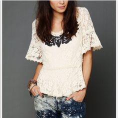 Small Free people lace shirt Really beautiful, fits beautifully, no stains or rips Free People Tops