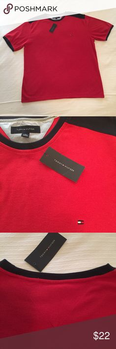 Tommy Hilfiger short-sleeved shirt NWT Tommy Hilfiger tee-shirt style shirt in heavy-weight waffle weave that's dressier than a regular T. Kind of like a polo shirt without a collar. Beautiful red color with navy accents. Size XL Tommy Hilfiger Shirts Tees - Short Sleeve
