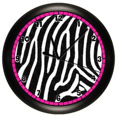 Zebra Print Wall Clock Hot Pink Black and White by cabgodfrey, $14.99