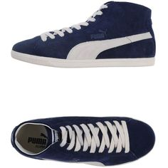 Puma Sneakers ($102) ❤ liked on Polyvore featuring shoes, sneakers, dark blue, round toe sneakers, leather trainers, print sneakers, dark blue shoes and genuine leather shoes