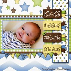 Baby Boy Scrapbook Page made with freebies from http www scrapgraphics com scrapbook page giggles html Baby Boy Scrapbook, Baby Scrapbook Pages, Scrapbook Sketches, Scrapbook Page Layouts, Scrapbook Cards, Free Digital Scrapbooking, Digital Scrapbook Paper, Scrapbook Paper Crafts, Scrapbooking Freebies