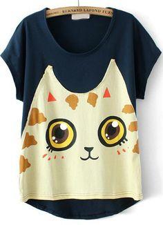 Navy Short Sleeve Cat Print T-Shirt 13.33