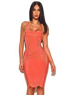 Harper Pink Bandage Dress with Gold Studded Hardware Pink Bandage Dress 955efb697