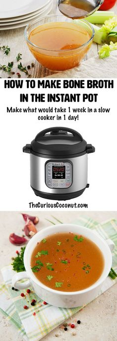 Make gallons of rich bone broth that gels with your Instant Pot pressure cooker! No more running the slow cooker endlessly and heating up your kitchen. // TheCuriousCoconut.com