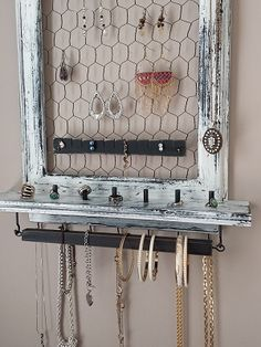 Hanging Jewelry Box white and black distressed Hang Jewelry On Wall, Hanging Jewelry Box, Jewelry Holder Wall, Jewelry Boxes For Sale, Jewellery Organizer Diy, Wall Mount Jewelry Organizer, Jewelry Organization, Diy Necklace And Earring Holder, Earring Holders