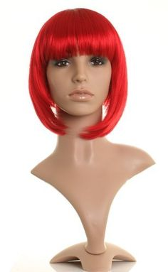 Bright red bob style wig - Fire cherry red shade - Neat cut fringe - Premium quality synthetic hair from Wonderland Wigs by Wonderland Wigs. $37.99. Discreet packaging. Bright red bob wig. 100% Kanekalon synthetic fibre - high quality natural look. Style: bob. Same day despatch. This bright red classic bob cut wig has a lovely neat eye length fringe, and is a trendy fire/cherry red shade with inspiration taking from this seasons hottest red trend! A gorgeous wig, thi...