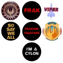 Buttons! Great #Stocking Stuffers and Geek Badge makes them in so many flavors of fandom it took me several minutes to pick which one to pin.  (Yay BSG!) #GiftsUnder10