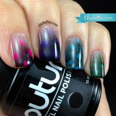 Chickettes.com: feather manicure #nailart