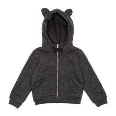 Heather ear zipper sweatshirt - Charcoal grey - Smallable