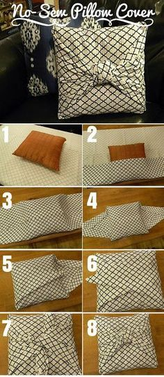 Check out the tutorial: #DIY No-Sew Pillow Cover #crafts #decor