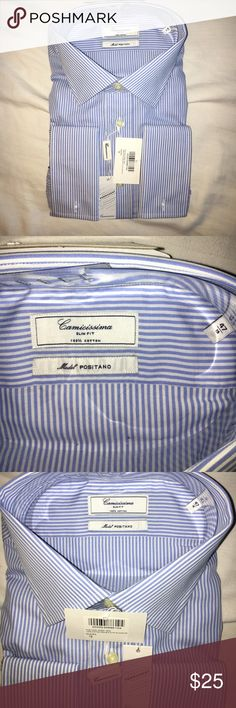 "NWT👔""Camicissima"" Button Down Top (Size 47/19) ""Camicissima"" Button Down Top ""SLIM FIT"" -- (SIZE 47/19) Italian Brand (Model: ""POSITANO""). Blue and white stripped long sleeve button down top, 100% Cotton; NWT! *See size chart in pictures*. Bundle this item with 1 or more item(s) from my closet and save 10%! *Prices negotiable, and feel free to ask questions!* 😁👔  *For more information, please see the following link…"