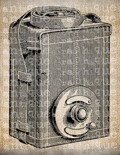 Antique Camera Photography  Illustration Printing  Digital Download for Tea Towels, Papercrafts, Transfer, Pillows, etc. No 3537. $1.00, via Etsy.