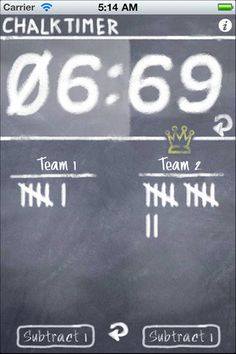 Chalk Timer ($0.00) This user friendly app works as a timer, stopwatch, and a scorecard for two teams. Set the timer for up to 25 minutes, start and stop it with just a touch. Tallying points is just as easy, with a crown icon marking the leading team.    ★★ Chalktimer HD now available for iPad- includes a digital canvas for paperless pictionary! ★★