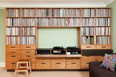 Record room of record shop owner in England Record Shelf, Record Cabinet, Vinyl Record Storage, Record Wall, Book Cabinet, Cd Storage, Vinyl Room, Muebles Living, Audio Room