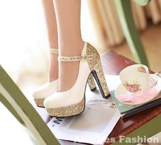 Bigger US size Hot 2014 Spring sequins period super coarse high heels PU woman shoes women pumps High-heeled shoes High Hill Shoes, Graduation Shoes, Dress Up Shoes, Ugly Shoes, Wedding Shoes Heels, Gorgeous Heels, Glitter Shoes, Pretty Shoes, Dream Shoes