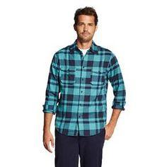 Men's Button Down Shirt Teal Plaid - Merona™