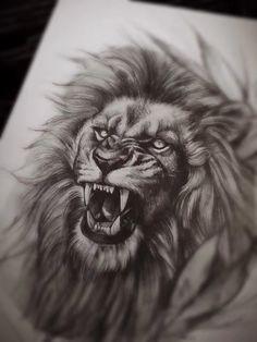 Lion Head Tattoos, Mens Lion Tattoo, Lion Tattoo Sleeves, Sleeve Tattoos, Chris Brown Tattoo, Roaring Lion Tattoo, Japanese Tattoo Artist, Ant Tattoo, Lion Sketch